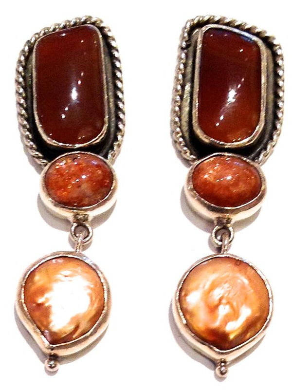 """Sterling Silver, Amber, Sunstone, Pearl Posts"""