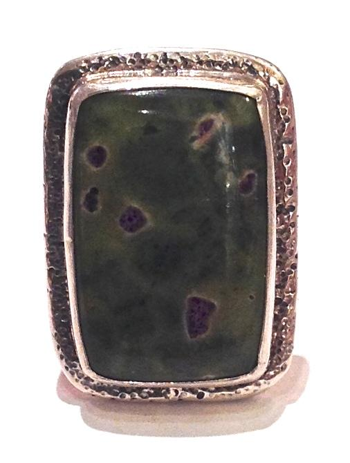"""Sterling Silver, Rectangle Jasper Ring"""