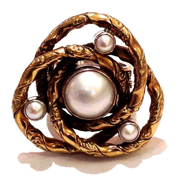 """Sterling Silver, Brass, Pearl Knot Ring"""