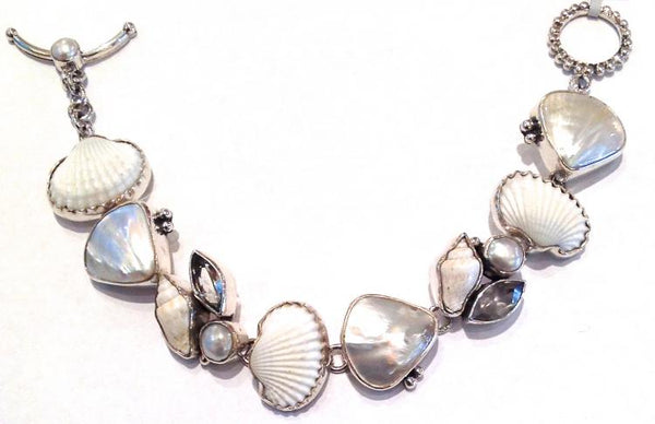 """Sterling Silver, Mother of Pearl, Shell, White Topaz, Pearl Bracelet"""