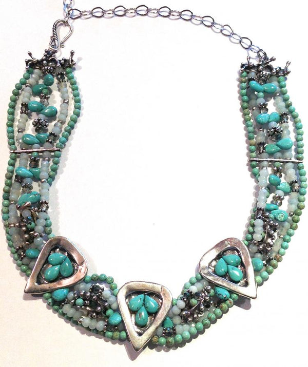 """Sterling Silver, Turquoise, Peruvian Chalcedony Necklace"""
