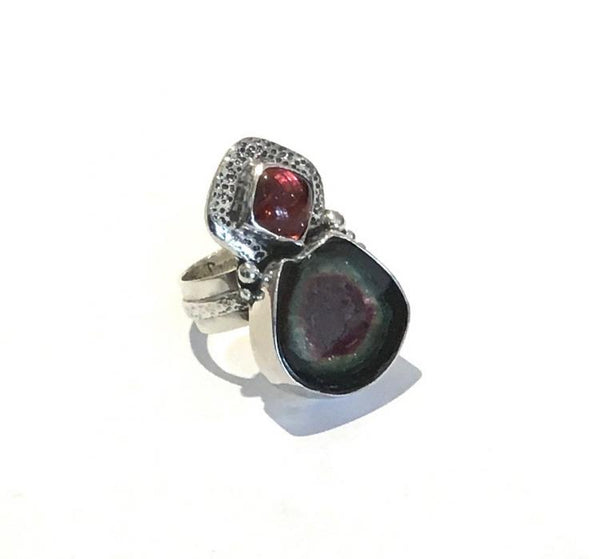 """Watermelon and Pink Tourmaline Ring"""