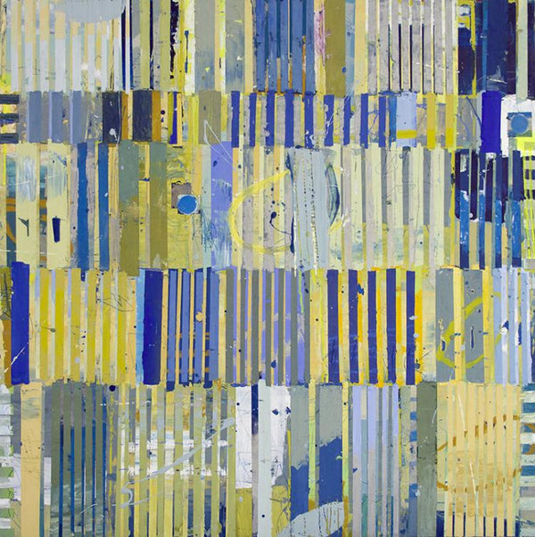 Abstract mixed media painting by Jylian Gustlin in Blue, yellow, and green