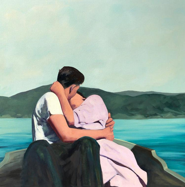 'Summer Is For Lovers'' Oil painting of couple having a romantic date on a boat in the blue sea with a mountain view""