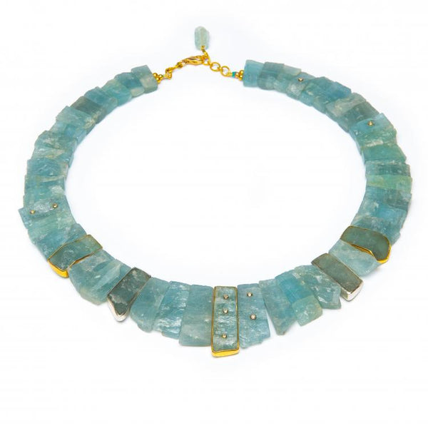 """Raw Aquamarine Omega Necklace"""