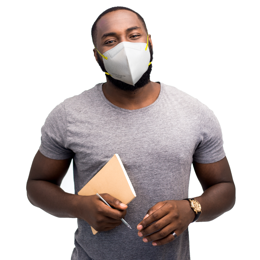 Man wearing N95 Respirator Mask