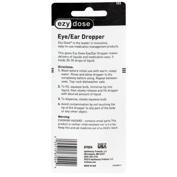 Straight-Tip Glass Medicine Dropper (1 mL) directions