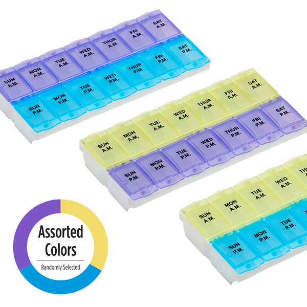 2XL Locking AM/PM Weekly Pill Planner in assorted colors
