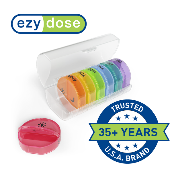 Ezy Dose Weekly 2x/Day Circular Pill Planner, Rainbow trusted