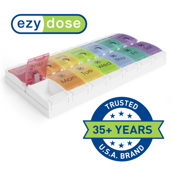 Ezy Dose Weekly 2x/Day Pill Planner, Rainbow