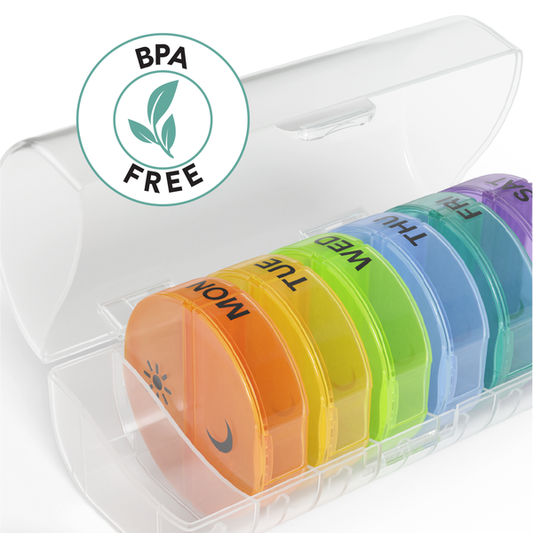 Ezy Dose Weekly 2x/Day Circular Pill Planner, Rainbow BPA free