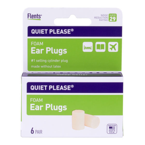 6 pair box of Quiet Please® Foam Ear Plugs