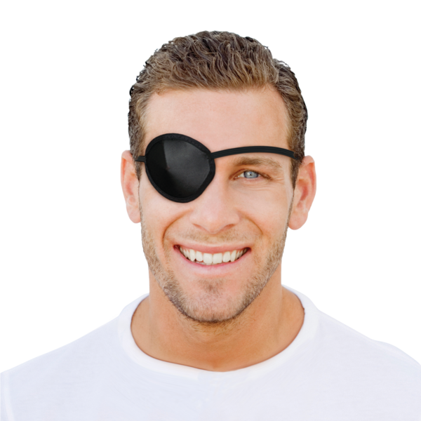 man wearing an eye patch