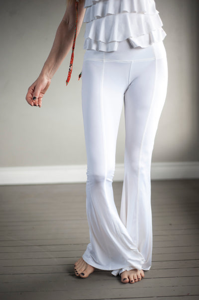 white flared dance pants