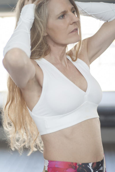 white timeless sports bra