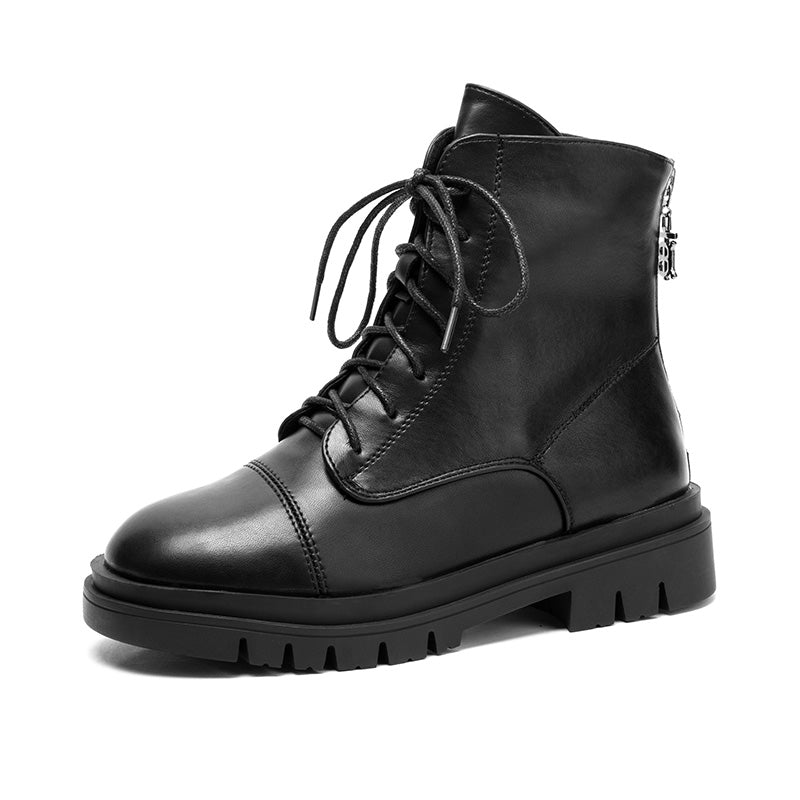 Women's Back Zipper Motorcycle Women's Boots Leather Boots