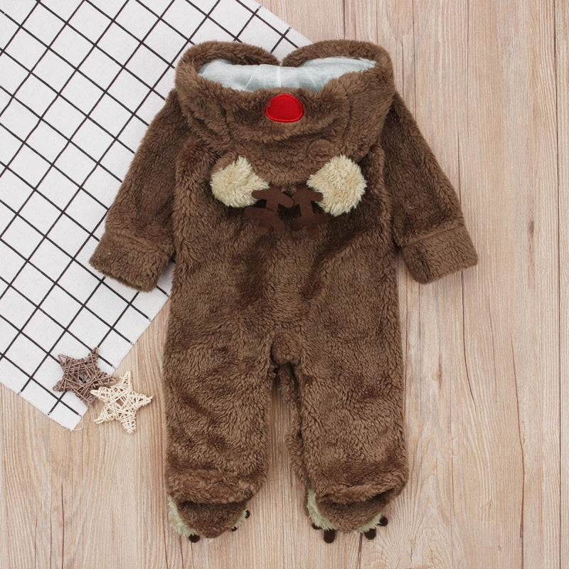 Cute Long Sleeve Hooded Reindeer Christmas Infant Onesies Pajama Coffee