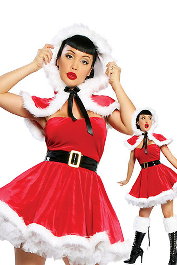 Cute Wraped Bubble Pleated Furry Christmas Miss Santa Claus Costume