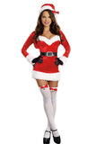Red Long Sleeves Wraped V Neck Christmas Dress