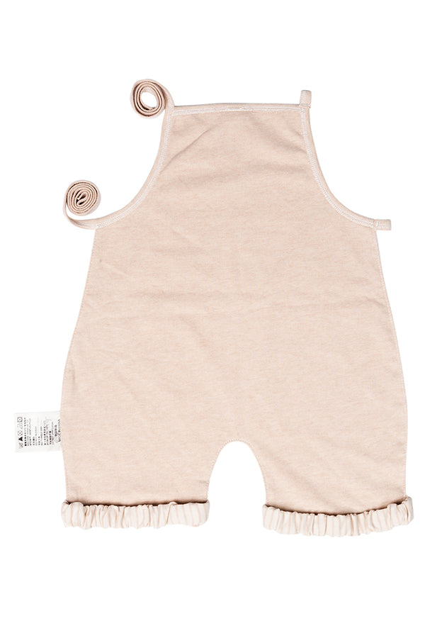 Soft Sleeveless Tie Striped Print Pleated Romper Khaki