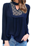 Womens Stand Collar Cutout Lace Patchwork Long Sleeve Blouse Navy Blue