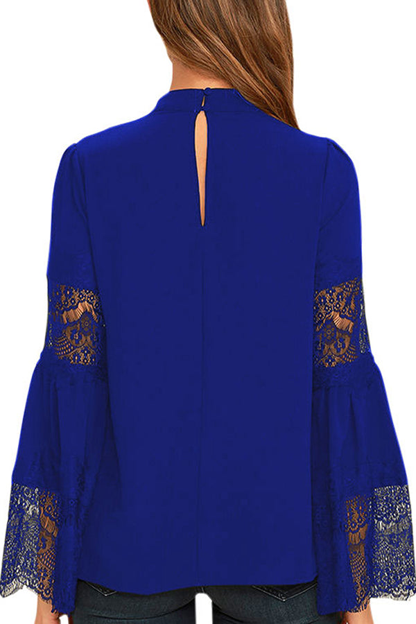 V Neck Floral Lace Sleeve Chiffon Blouse Sapphire Blue