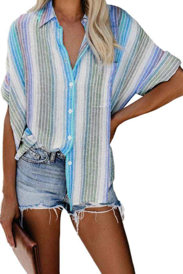 Dolman Half Sleeve Button Front Striped Casual Blouse Blue