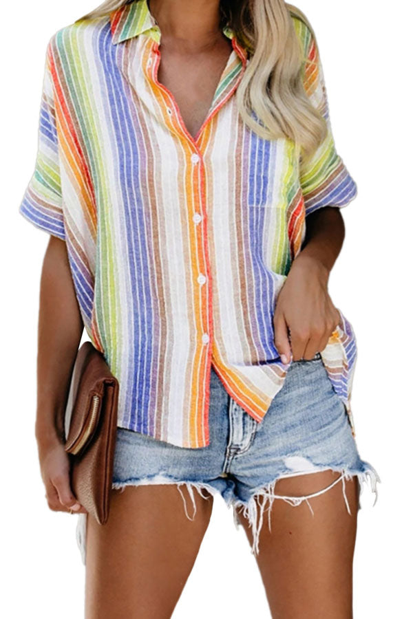 Summer Casual Loose Batwing Sleeve Striped Button Blouse