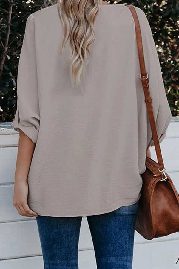 Summer V Neck Plain Loose Fit Blouse Apricot