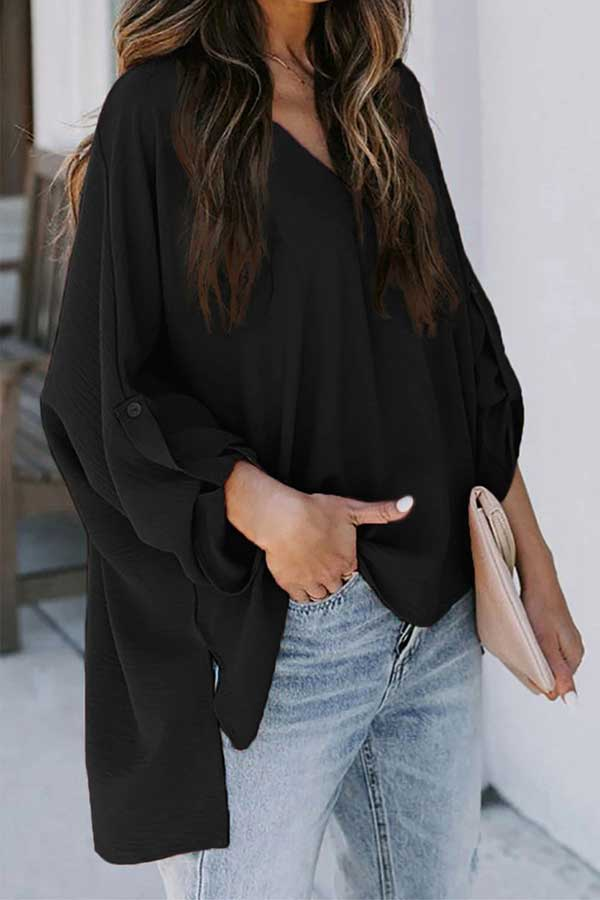 Women'S 3/4 Sleeve Plain V Neck Blouse Black