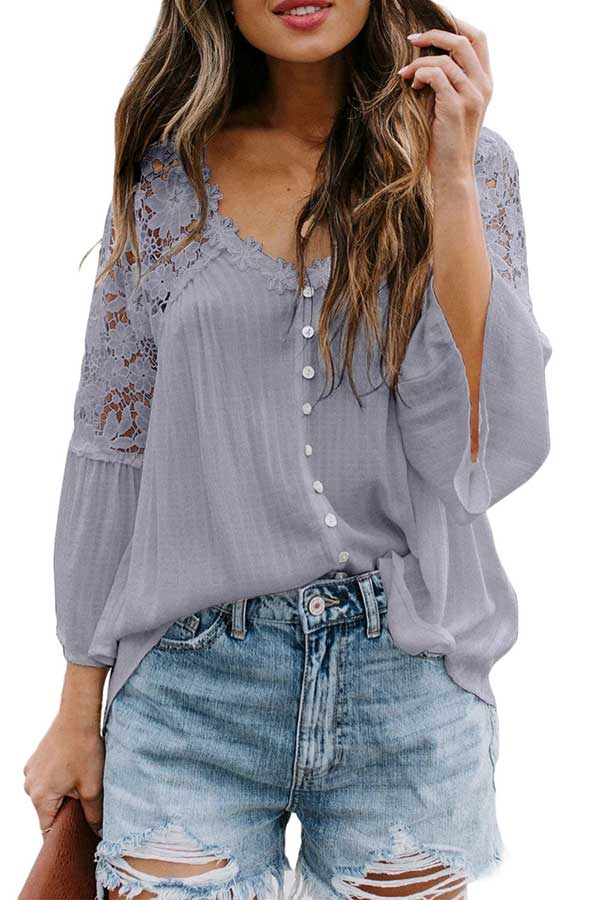 Women'S Solid Bell Sleeve V Neck Floral Lace Blouse