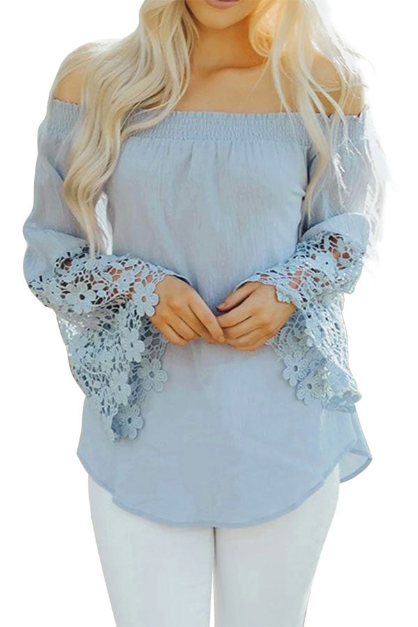 Off Shoulder Long Sleeve Crochet Plain Blouse Light Blue