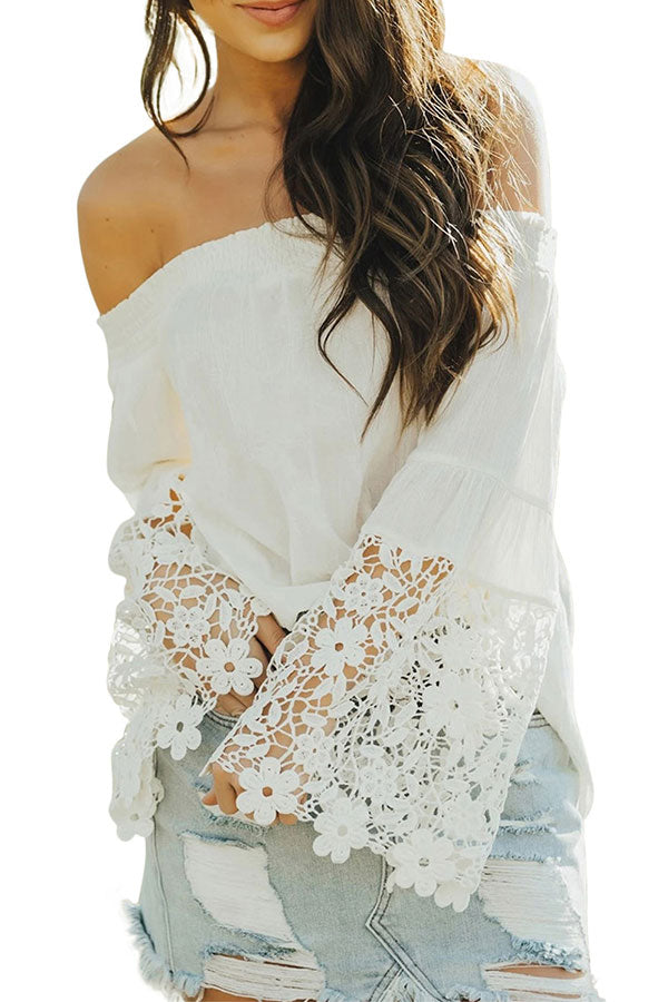 Solid Off Shoulder Long Sleeve Crochet Blouse White