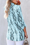 Button Down Snakeskin Print 3/4 Sleeve Blouse Light Blue