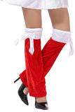 Cute Bows Adult Christmas Leg Warmers White