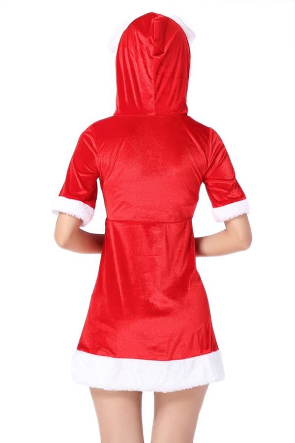 Red Sexy Ladies Christmas Short Sleeve Pleuche Hooded Santa Costume