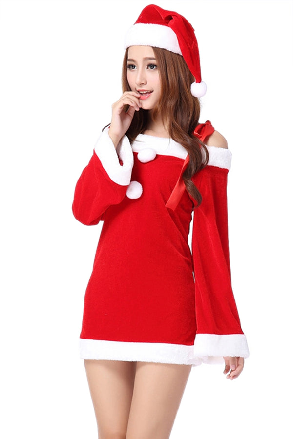 Red Stylish Womens Strap Off Shoulder Pleuche Christmas Santa Costume
