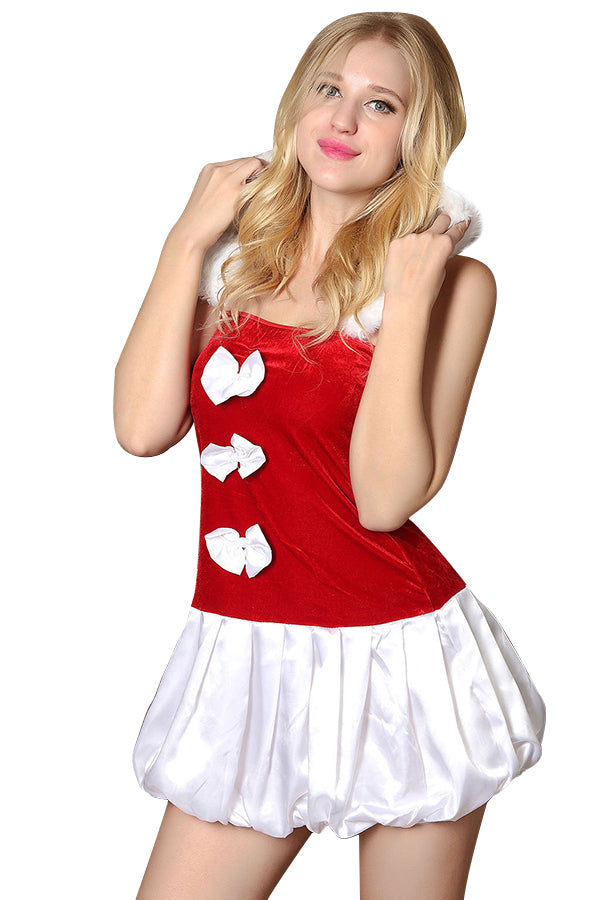 Womens Adult Sleeveless Hooded Bowknot Christmas Santa Costume Red