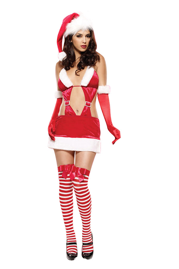 Womens Cut Out Backless Fur Naughty Sexy Christmas Santa Costume Red