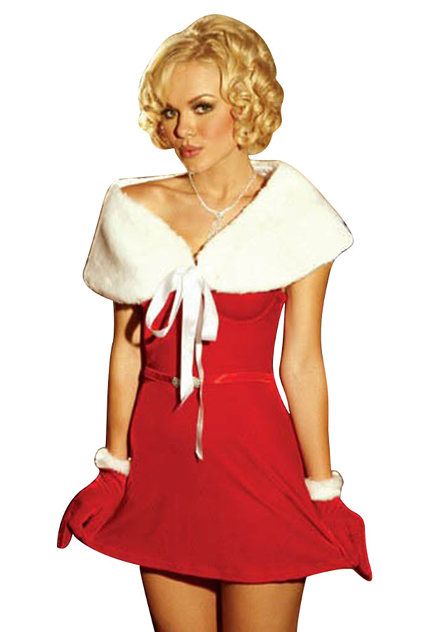 Womens Cute Shawl Bow Off Shoulder Christmas Santa Costume Red