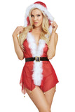 Womens Sexy Hooded Sheer Belt Backless V-Neck Christmas Lingerie Red