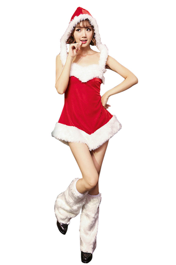 Womens Sexy Hooded Backless Tube Fur Trim Christmas Santa Costume Red