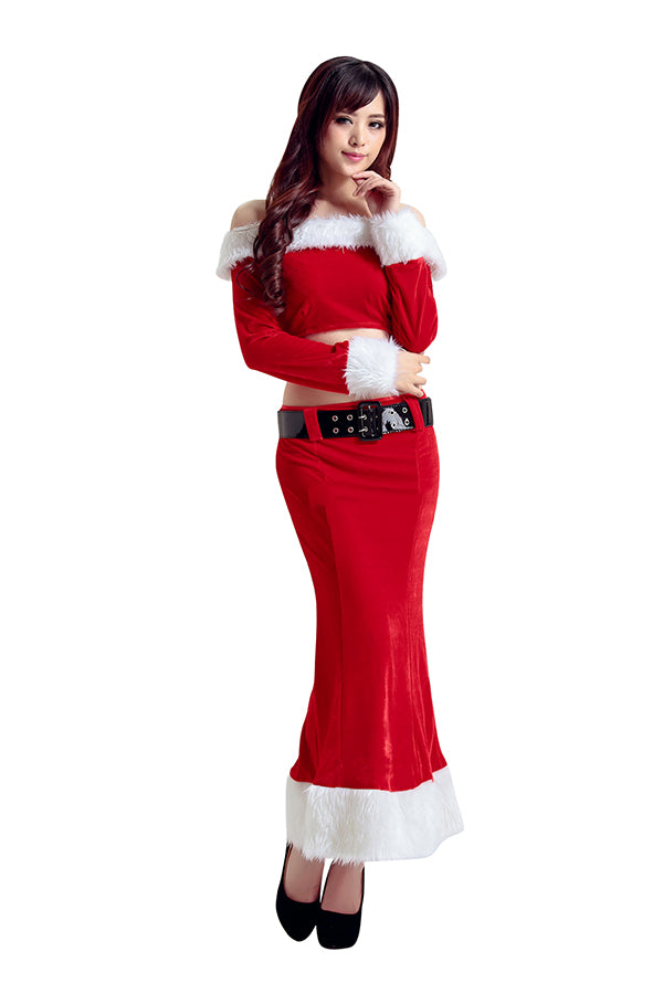 Sexy Off Shoulder Fur Trim Christmas Santa Costume Red