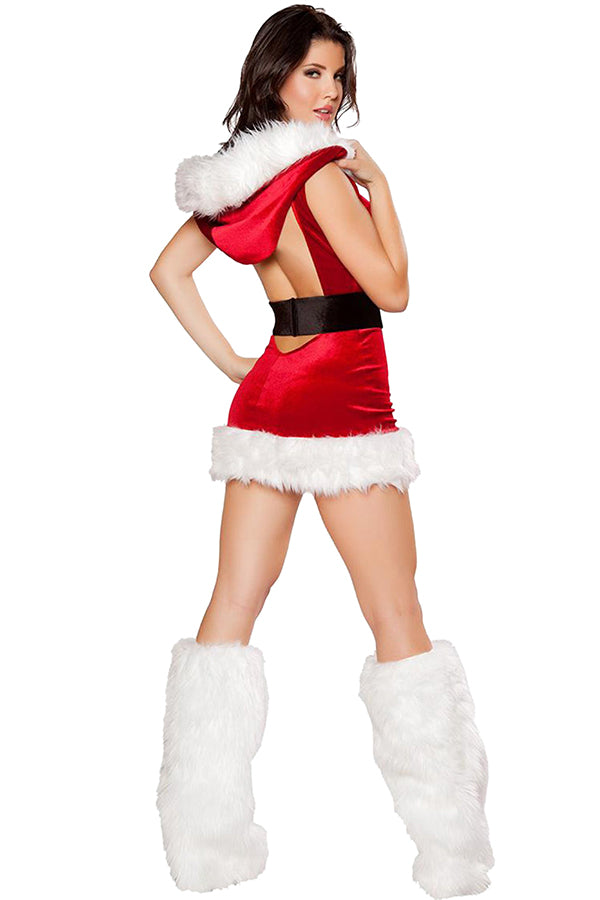 Sexy Hooded Backless Miss Santa Dress Christmas Costume Red