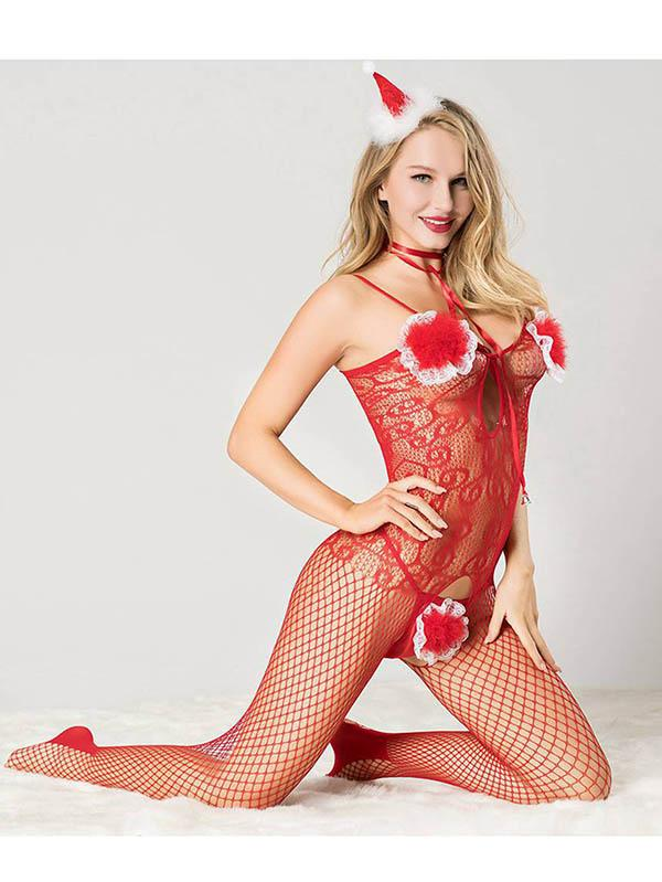 Christmas Red Lace Fishnet Bodystocking