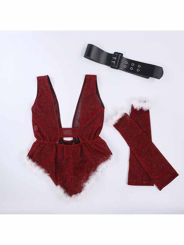Mrs Claus Lingerie Christmas Glitter Teddy