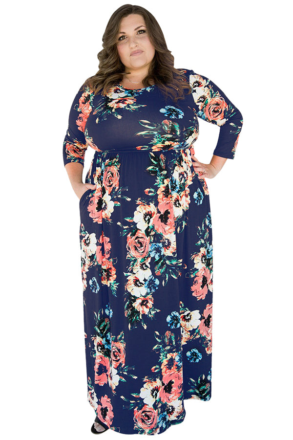Womens Plus Size Floral Printed Tunic Long Sleeve Maxi Dress Navy Blue