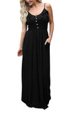 Button Front Cami Maxi Dress With Pockets Black