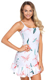 Spaghetti Straps Flowers And Leave Print Ruffle Hem Mini Dress Blue