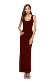 Elegant U Neck Sleeveless Close-Fitting Plain Maxi Tank Dress Ruby